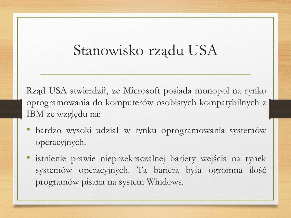 Stanowisko rządu USA Rząd USA stwierdził, że Microsoft posiada monopol na rynku oprogramowania do komputerów osobistych kompatybilnych z IBM ze względu na: bardzo wysoki udział w rynku oprogramowania systemów operacyjnych.