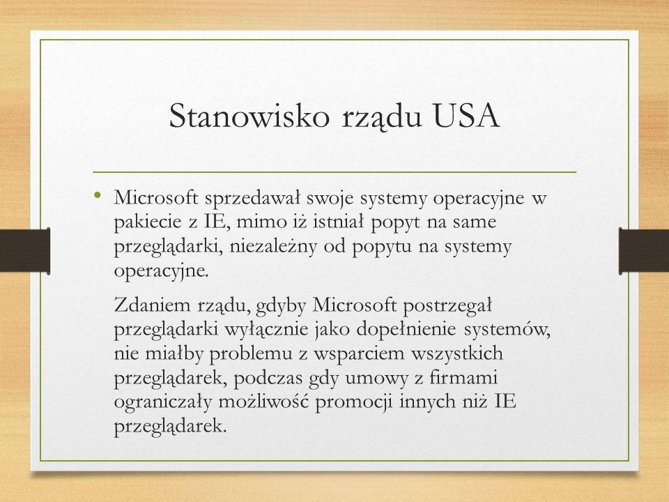 Stanowisko rządu USA Microsoft sprzedawał swoje systemy operacyjne w pakiecie z IE, mimo iż istniał popyt na same przeglądarki, niezależny od popytu na systemy operacyjne.