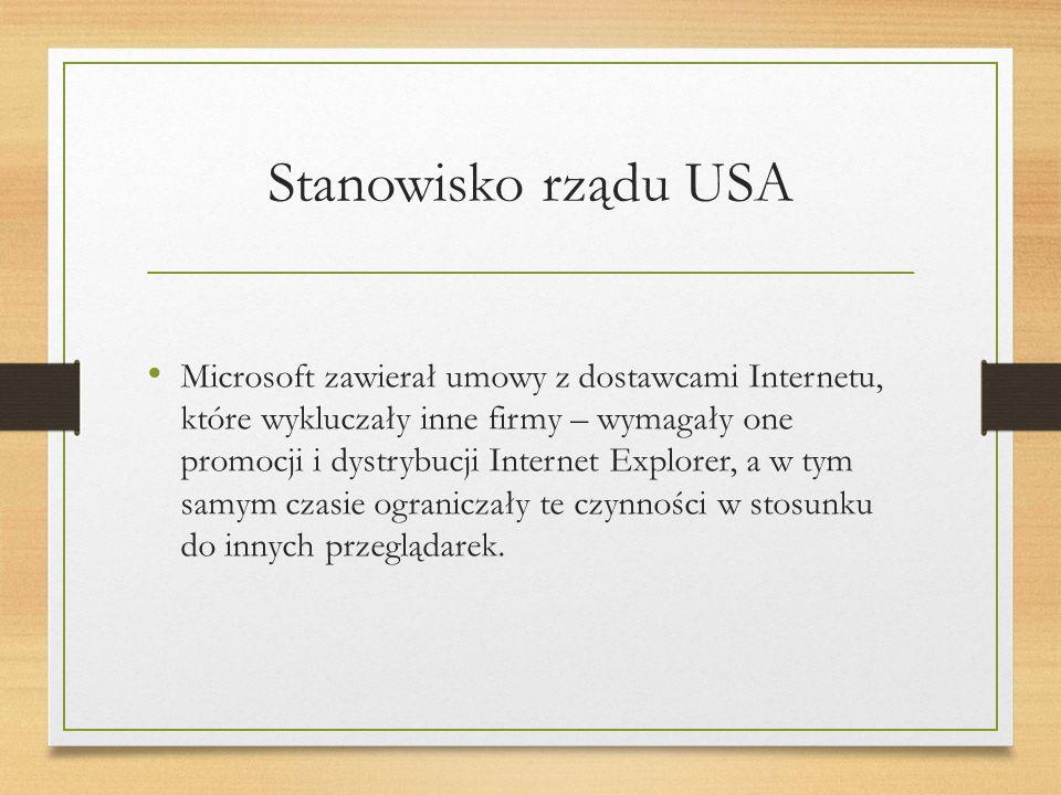 Stanowisko rządu USA Microsoft zawierał umowy z dostawcami Internetu, które wykluczały inne firmy – wymagały one promocji i dystrybucji Internet Explorer, a w tym samym czasie ograniczały te czynności w stosunku do innych przeglądarek.