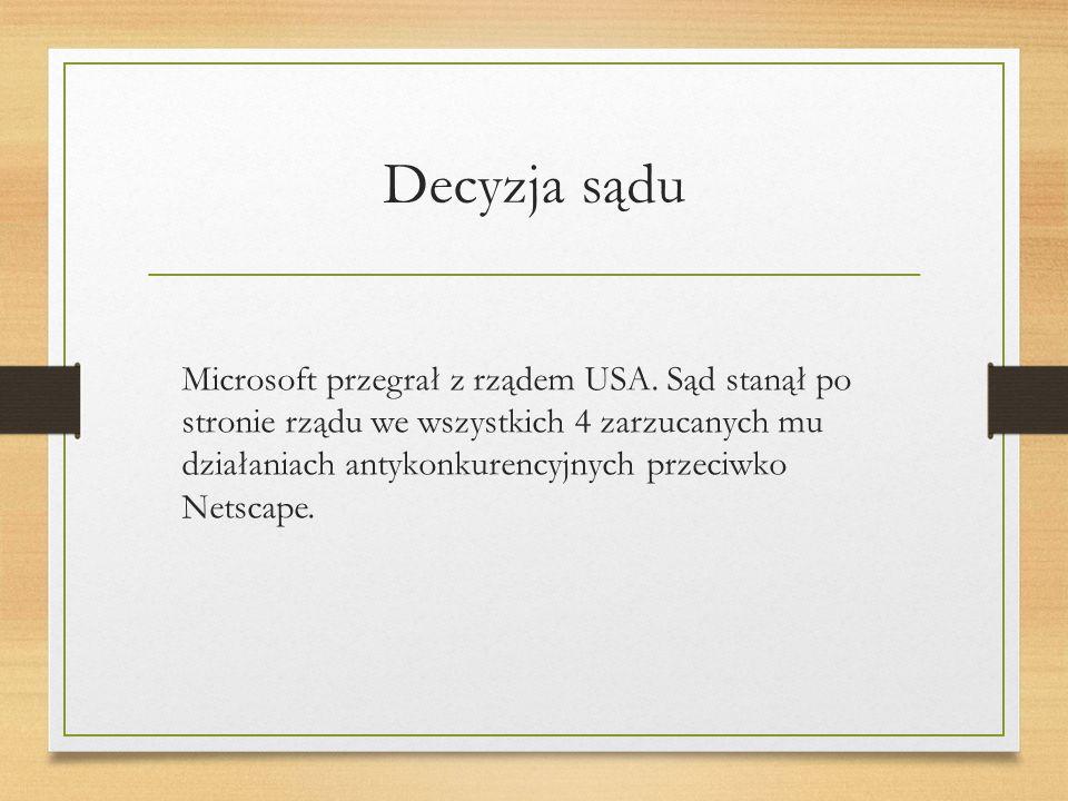 Decyzja sądu Microsoft przegrał z rządem USA.