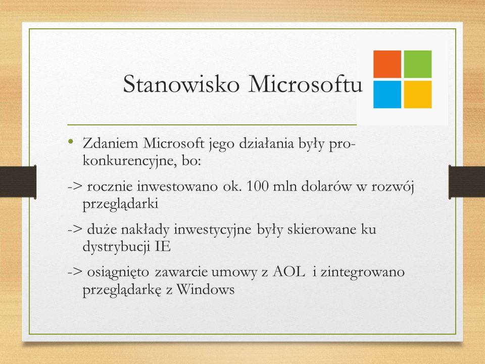 Stanowisko Microsoftu Zdaniem Microsoft jego działania były pro- konkurencyjne, bo: -> rocznie inwestowano ok.