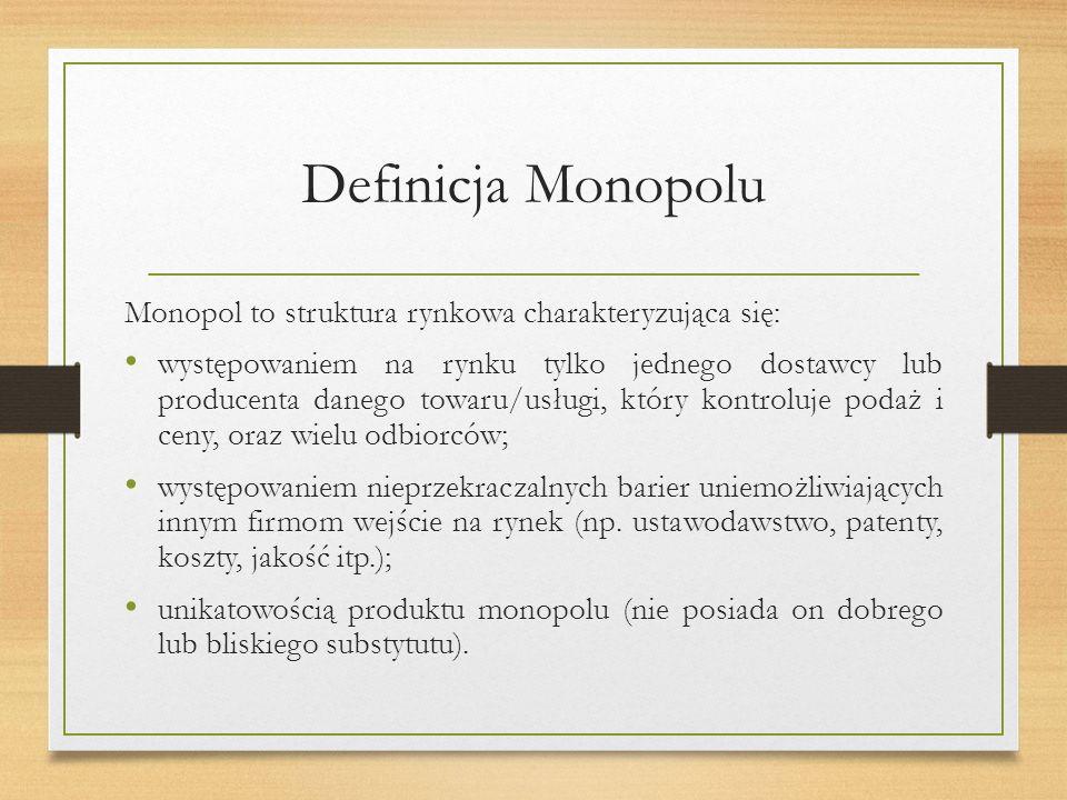 Definicja Monopolu Monopol to struktura rynkowa charakteryzująca się: występowaniem na rynku tylko jednego dostawcy lub producenta danego towaru/usługi, który kontroluje podaż i ceny, oraz wielu odbiorców; występowaniem nieprzekraczalnych barier uniemożliwiających innym firmom wejście na rynek (np.