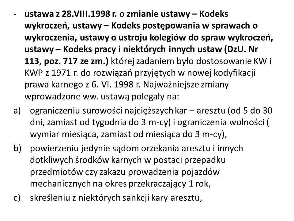 -ustawa z 28.VIII.1998 r. o zmianie ustawy – Kodeks wykroczeń, ustawy – Kodeks postępowania w sprawach o wykroczenia, ustawy o ustroju kolegiów do spr