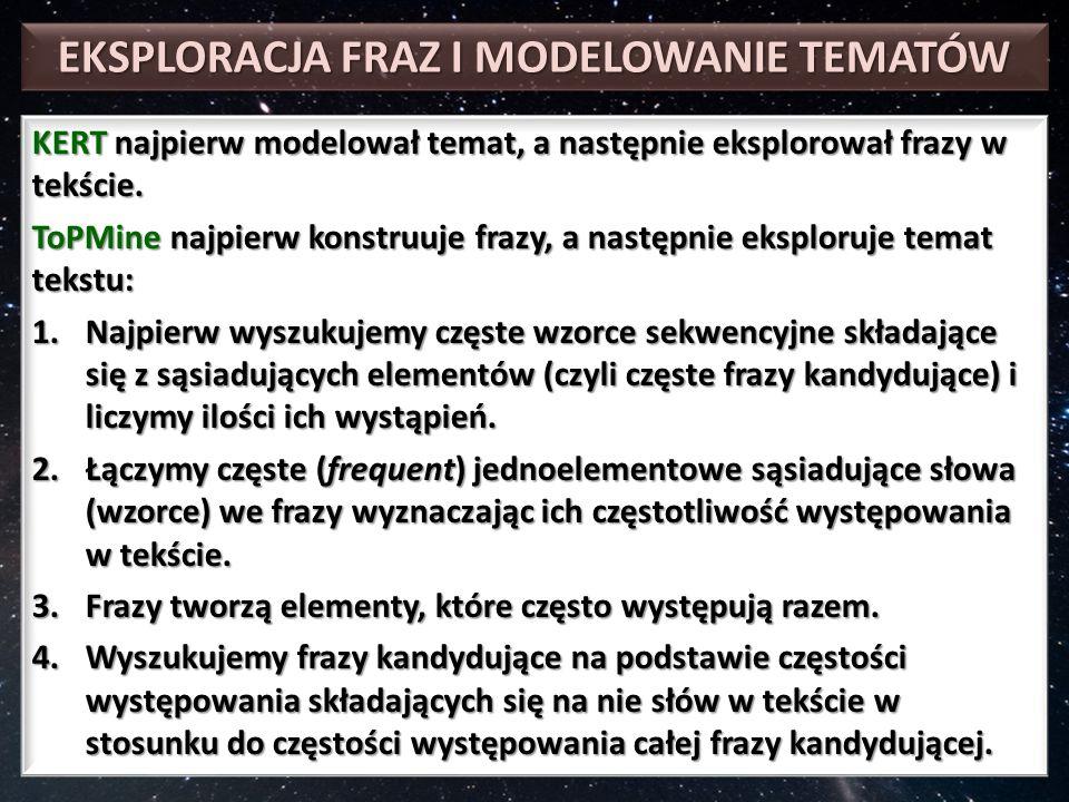 EKSPLORACJA FRAZ I MODELOWANIE TEMATÓW KERT najpierw modelował temat, a następnie eksplorował frazy w tekście.