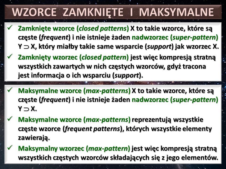 WZORCE ZAMKNIĘTE I MAKSYMALNE Zamknięte wzorce (closed patterns) X to takie wzorce, które są częste (frequent) i nie istnieje żaden nadwzorzec (super-pattern) Y  X, który miałby takie same wsparcie (support) jak wzorzec X.