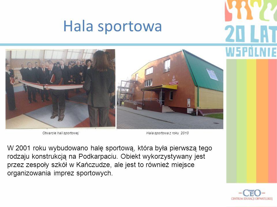 Hala sportowa W 2001 roku wybudowano halę sportową, która była pierwszą tego rodzaju konstrukcją na Podkarpaciu.