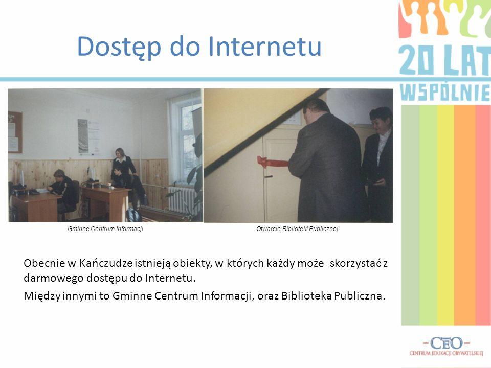 Dostęp do Internetu Obecnie w Kańczudze istnieją obiekty, w których każdy może skorzystać z darmowego dostępu do Internetu.