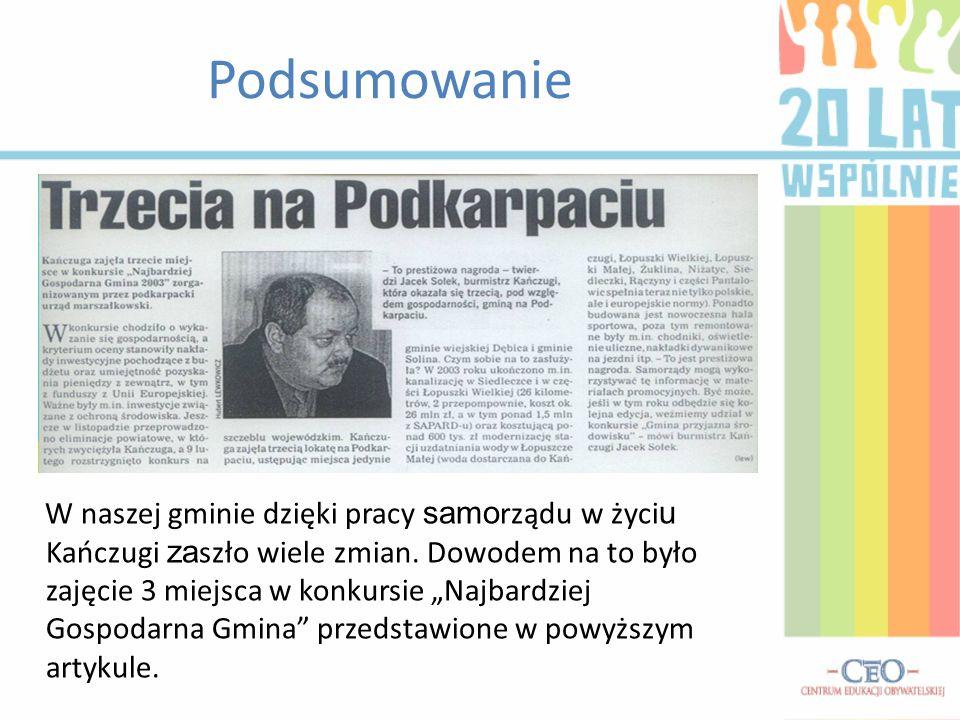 Podsumowanie W naszej gminie dzięki pracy samo rządu w życi u Kańczugi za szło wiele zmian.