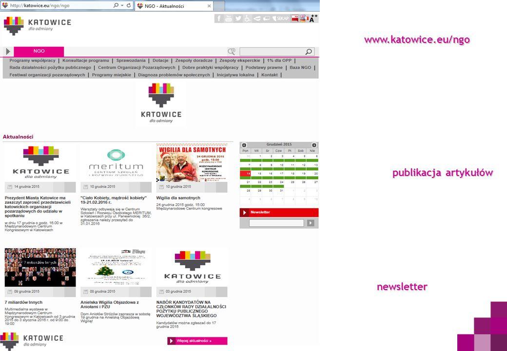 publikacja artykułów www.katowice.eu/ngo newsletter