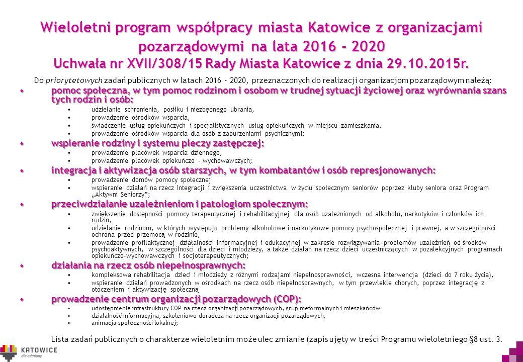 Wieloletni program współpracy miasta Katowice z organizacjami pozarządowymi na lata 2016 - 2020 Uchwała nr XVII/308/15 Rady Miasta Katowice z dnia 29.10.2015r.