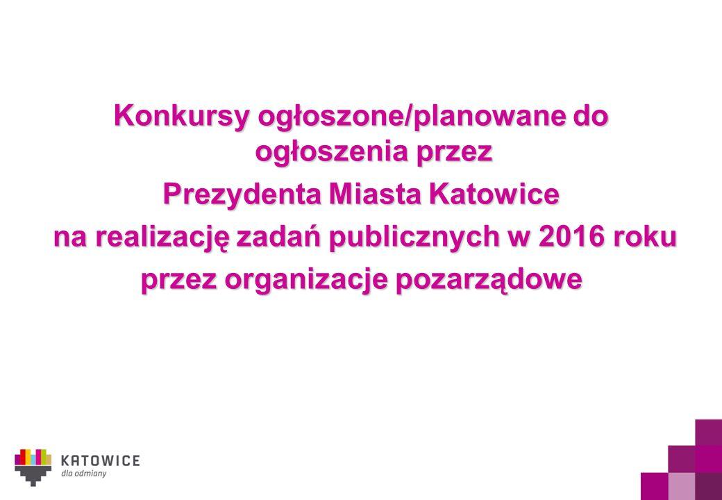 Konkursy ogłoszone/planowane do ogłoszenia przez Prezydenta Miasta Katowice na realizację zadań publicznych w 2016 roku na realizację zadań publicznych w 2016 roku przez organizacje pozarządowe