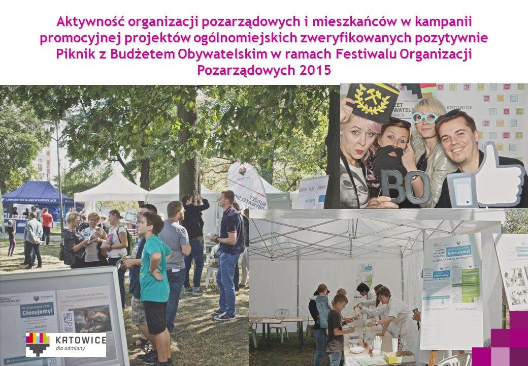 Aktywność organizacji pozarządowych i mieszkańców w kampanii promocyjnej projektów ogólnomiejskich zweryfikowanych pozytywnie Piknik z Budżetem Obywatelskim w ramach Festiwalu Organizacji Pozarządowych 2015
