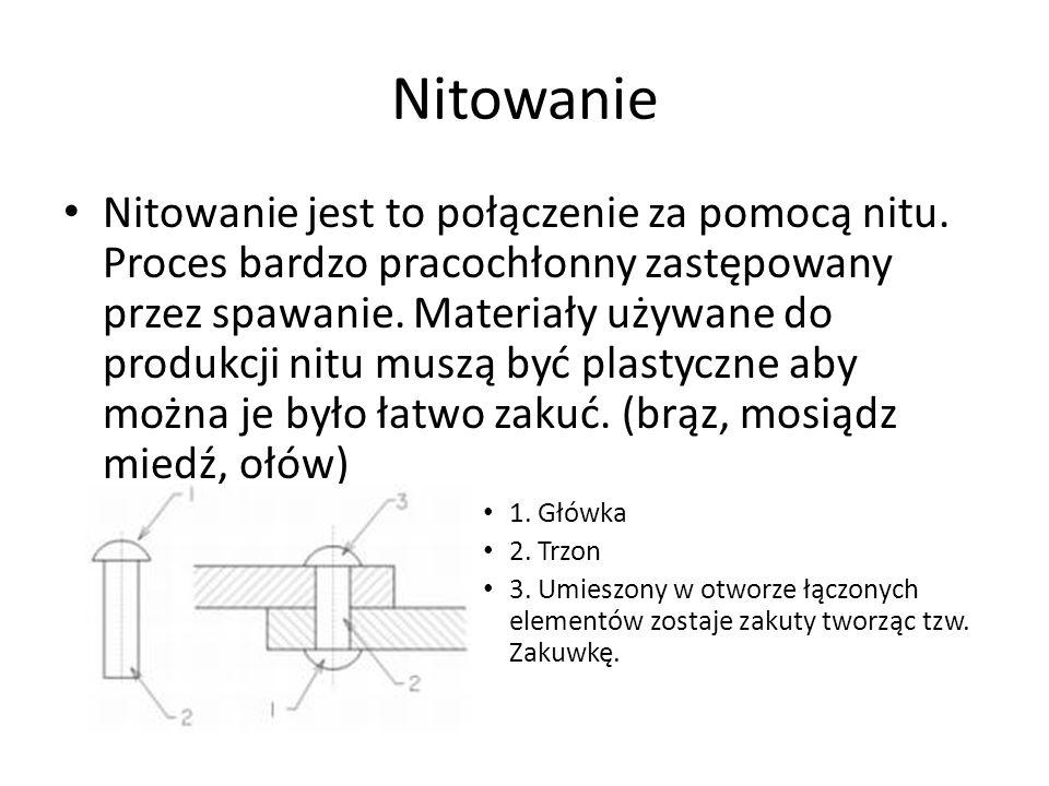 Nitowanie Nitowanie jest to połączenie za pomocą nitu. Proces bardzo pracochłonny zastępowany przez spawanie. Materiały używane do produkcji nitu musz