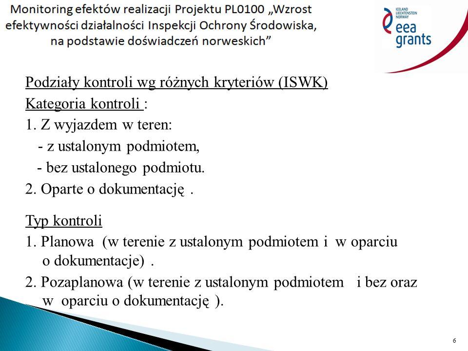 Podziały kontroli wg różnych kryteriów (ISWK) Kategoria kontroli : 1.