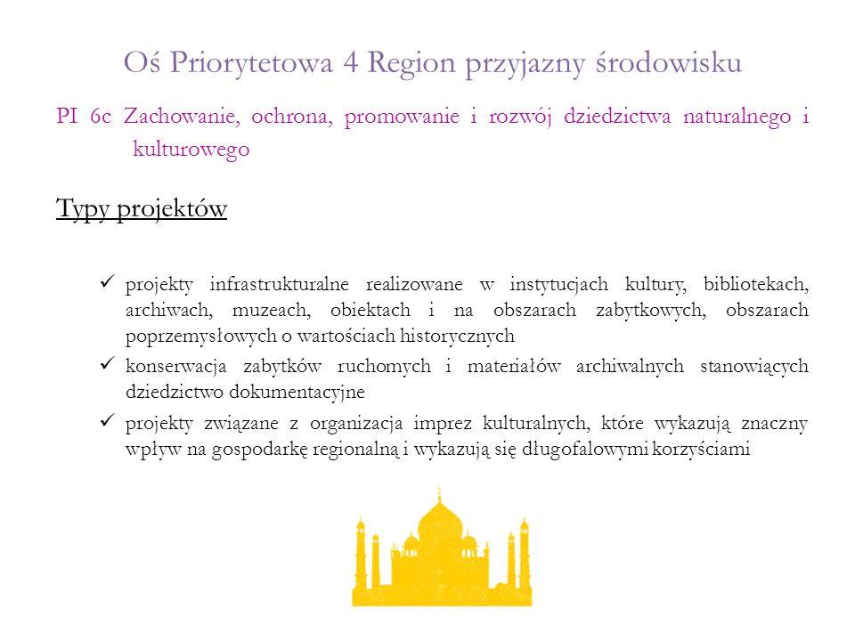 Oś Priorytetowa 4 Region przyjazny środowisku Typy projektów projekty infrastrukturalne realizowane w instytucjach kultury, bibliotekach, archiwach, m