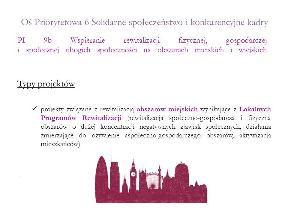 Oś Priorytetowa 6 Solidarne społeczeństwo i konkurencyjne kadry Typy projektów projekty związane z rewitalizacją obszarów miejskich wynikające z Lokal