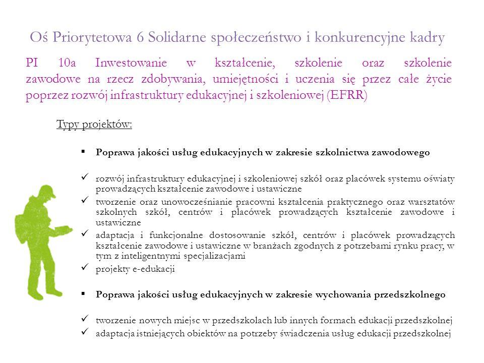 Oś Priorytetowa 6 Solidarne społeczeństwo i konkurencyjne kadry Typy projektów:  Poprawa jakości usług edukacyjnych w zakresie szkolnictwa zawodowego