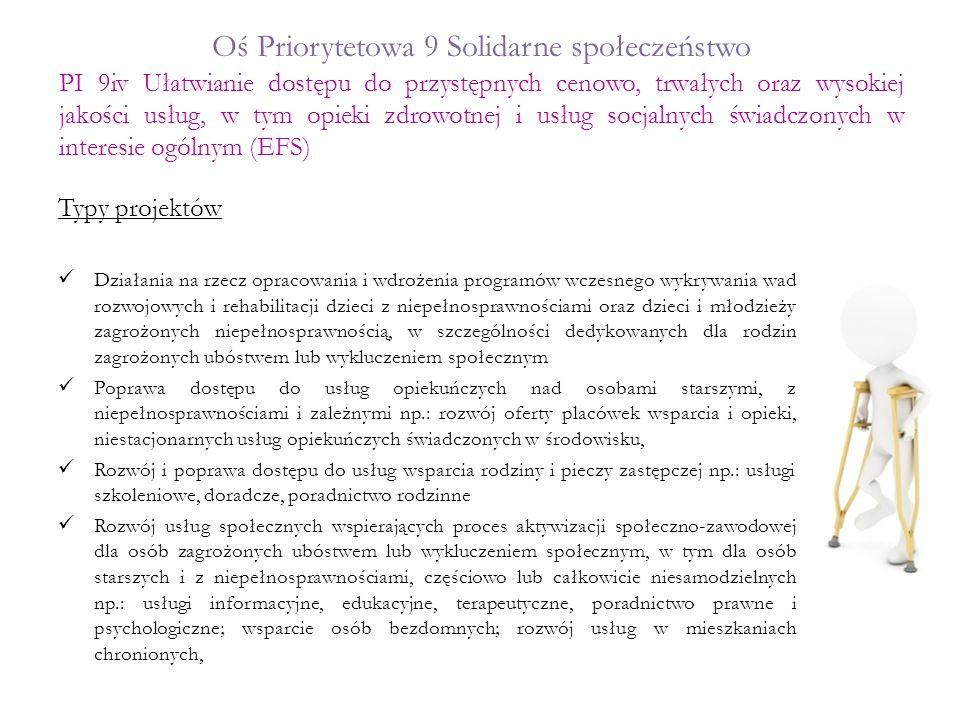 Oś Priorytetowa 9 Solidarne społeczeństwo Typy projektów Działania na rzecz opracowania i wdrożenia programów wczesnego wykrywania wad rozwojowych i r