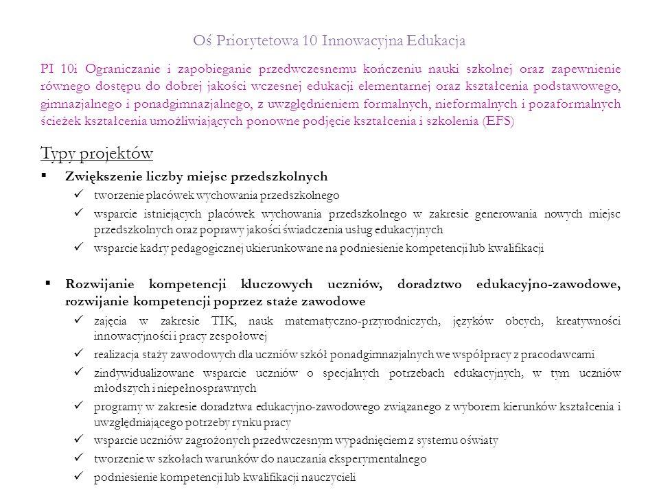 Oś Priorytetowa 10 Innowacyjna Edukacja Typy projektów  Zwiększenie liczby miejsc przedszkolnych tworzenie placówek wychowania przedszkolnego wsparci