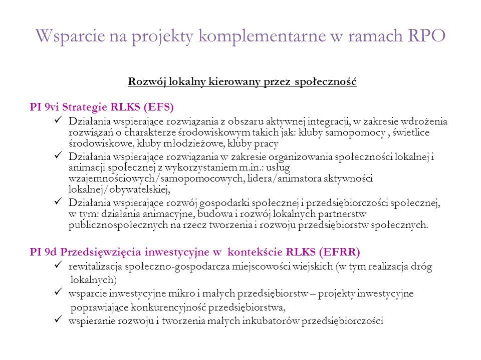 Wsparcie na projekty komplementarne w ramach RPO Rozwój lokalny kierowany przez społeczność PI 9vi Strategie RLKS (EFS) Działania wspierające rozwiąza