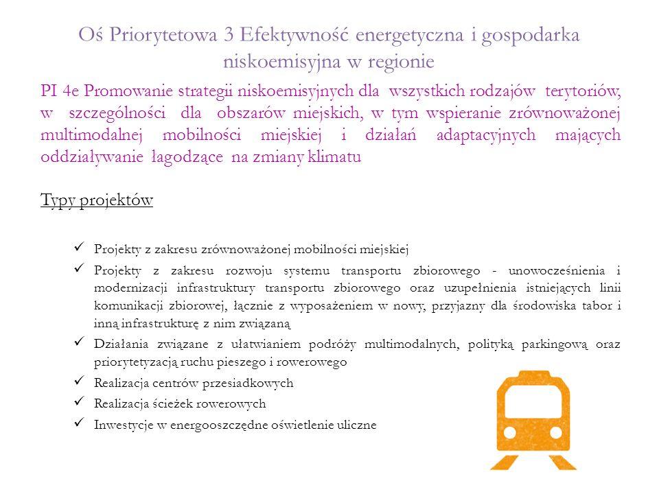 4e Promowanie strategii niskoemisyjnych Przykłady projektów możliwych do realizacji Przykłady projektów niemożliwych do realizacji lub budzących wątpliwości  budowa ścieżek pieszo–rowerowych na terenie miasta Świecie  wymiana oświetlenia ulicznego na energooszczędne na terenie miasta Świecie  budowa zaplecza dworca autobusowego wraz z parkingiem na potrzeby transportu zbiorowego w Nowem Projekty wynikające z planu mobilności miejskiej i planów gospodarki niskoemisyjnej Oświetlenie uliczne będzie możliwe do realizacji wyłącznie na podstawie planu mobilności miejskiej, przeznaczonego dla obszarów zapewniających publiczny transport zbiorowy Wydatki związane z inwestycjami w drogi lokalne muszą być ściśle związane z mobilnością w miastach i stanowić jedynie niewielki i niezbędny element projektów transportu miejskiego  budowa ścieżek rowerowych na obszarach wiejskich  oświetlenie uliczne na obszarach wiejskich