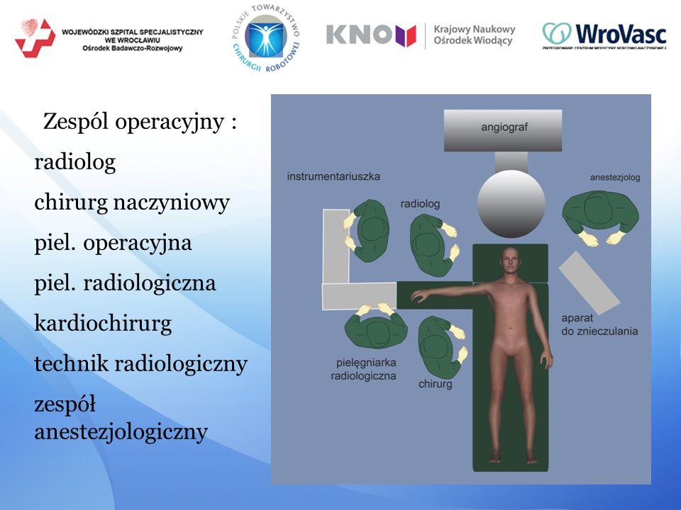 Zespól operacyjny : radiolog chirurg naczyniowy piel. operacyjna piel. radiologiczna kardiochirurg technik radiologiczny zespół anestezjologiczny