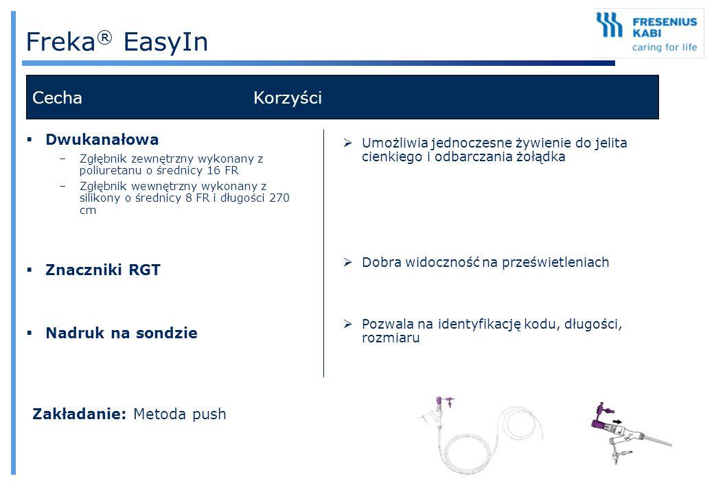 Freka ® EasyIn Cecha Korzyści  Dwukanałowa –Zgłębnik zewnętrzny wykonany z poliuretanu o średnicy 16 FR –Zgłębnik wewnętrzny wykonany z silikony o śr