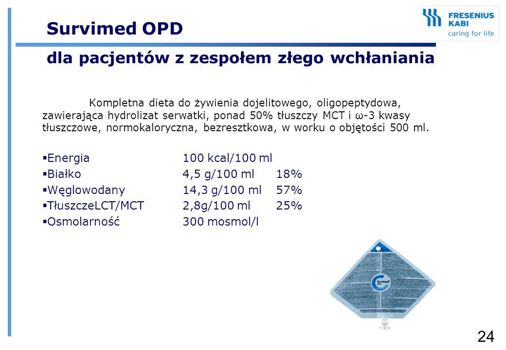 24 Survimed OPD dla pacjentów z zespołem złego wchłaniania Kompletna dieta do żywienia dojelitowego, oligopeptydowa, zawierająca hydrolizat serwatki,