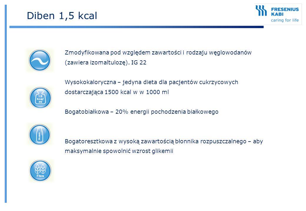 Diben 1,5 kcal Zmodyfikowana pod względem zawartości i rodzaju węglowodanów (zawiera izomaltulozę). IG 22 Wysokokaloryczna – jedyna dieta dla pacjentó