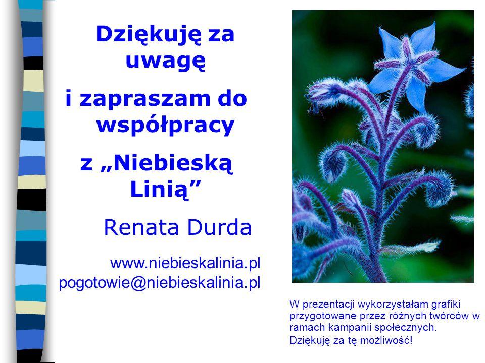 """Dziękuję za uwagę i zapraszam do współpracy z """"Niebieską Linią Renata Durda www.niebieskalinia.pl pogotowie@niebieskalinia.pl W prezentacji wykorzystałam grafiki przygotowane przez różnych twórców w ramach kampanii społecznych."""