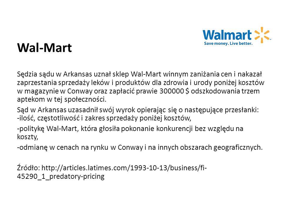 Wal-Mart Sędzia sądu w Arkansas uznał sklep Wal-Mart winnym zaniżania cen i nakazał zaprzestania sprzedaży leków i produktów dla zdrowia i urody poniżej kosztów w magazynie w Conway oraz zapłacić prawie 300000 $ odszkodowania trzem aptekom w tej społeczności.