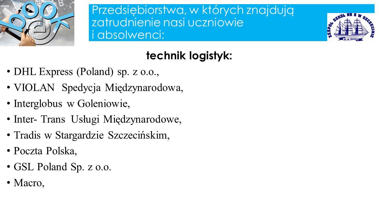 Przedsiębiorstwa, w których znajdują zatrudnienie nasi uczniowie i absolwenci: technik logistyk: DHL Express (Poland) sp. z o.o., VIOLAN Spedycja Międ