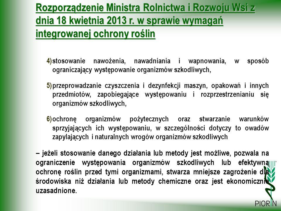 Rozporządzenie Ministra Rolnictwa i Rozwoju Wsi z dnia 18 kwietnia 2013 r. w sprawie wymagań integrowanej ochrony roślin 4)stosowanie nawożenia, nawad