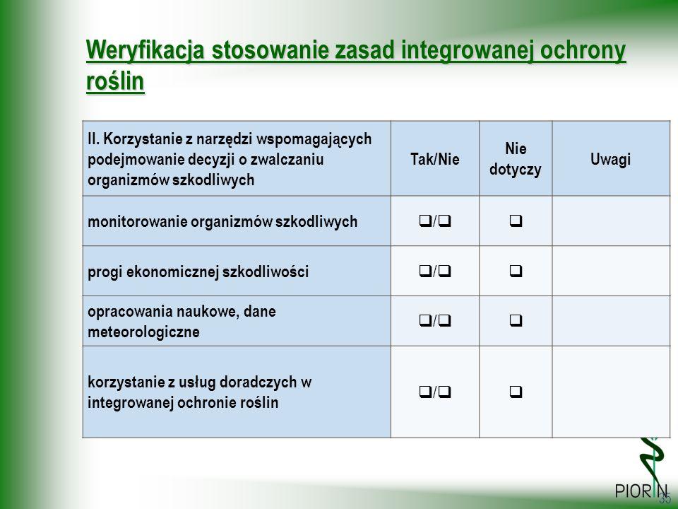 35 Weryfikacja stosowanie zasad integrowanej ochrony roślin II. Korzystanie z narzędzi wspomagających podejmowanie decyzji o zwalczaniu organizmów szk