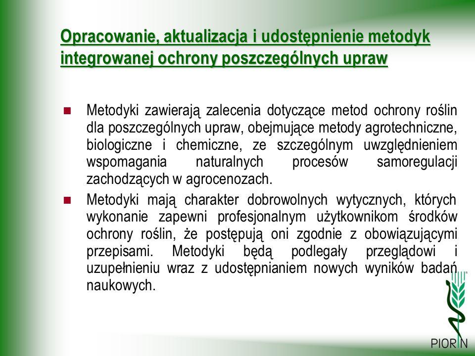 Opracowanie, aktualizacja i udostępnienie metodyk integrowanej ochrony poszczególnych upraw Metodyki zawierają zalecenia dotyczące metod ochrony rośli