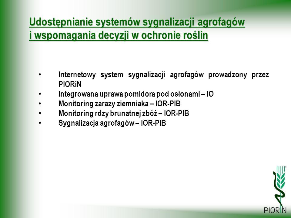 Internetowy system sygnalizacji agrofagów prowadzony przez PIORiN Integrowana uprawa pomidora pod osłonami – IO Monitoring zarazy ziemniaka – IOR-PIB