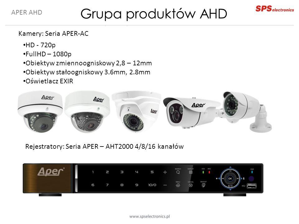 APER AHD Kamery: Seria APER-AC Rejestratory: Seria APER – AHT2000 4/8/16 kanałów HD - 720p FullHD – 1080p Obiektyw zmiennoogniskowy 2,8 – 12mm Obiekty