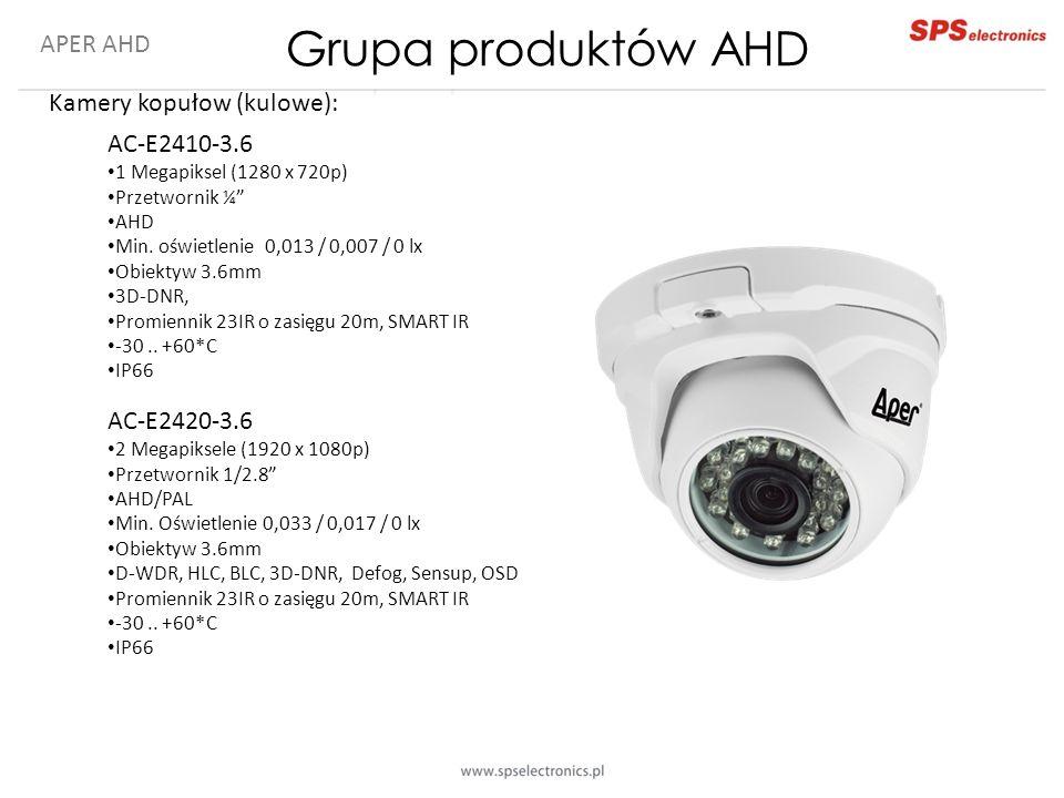 """APER AHD Kamery kopułow (kulowe): AC-E2410-3.6 1 Megapiksel (1280 x 720p) Przetwornik ¼"""" AHD Min. oświetlenie 0,013 / 0,007 / 0 lx Obiektyw 3.6mm 3D-D"""