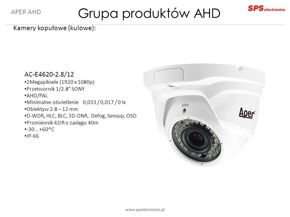 """APER AHD Kamery kopułowe (kulowe): AC-E4620-2.8/12 2Megapiksele (1920 x 1080p) Przetwornik 1/2.8"""" SONY AHD/PAL Minimalne oświetlenie 0,033 / 0,017 / 0"""