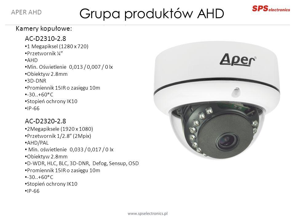 """APER AHD Kamery kopułowe: AC-D2310-2.8 1 Megapiksel (1280 x 720) Przetwornik ¼"""" AHD Min. Oświetlenie 0,013 / 0,007 / 0 lx Obiektyw 2.8mm 3D-DNR Promie"""