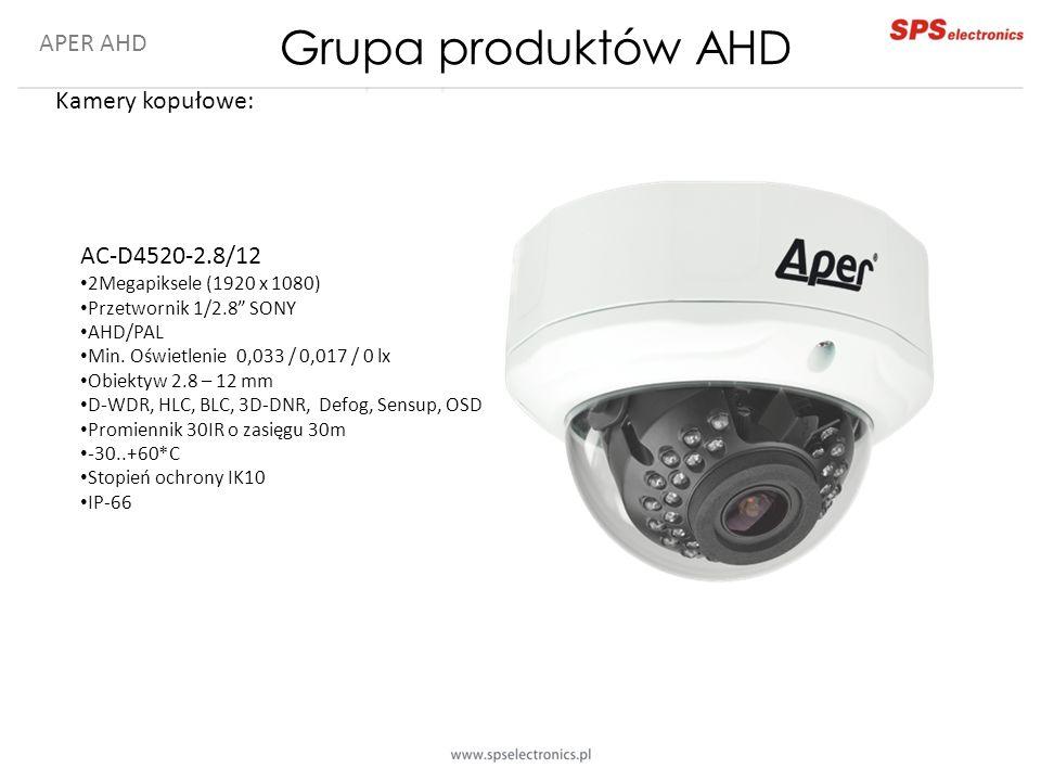 """APER AHD Kamery kopułowe: AC-D4520-2.8/12 2Megapiksele (1920 x 1080) Przetwornik 1/2.8"""" SONY AHD/PAL Min. Oświetlenie 0,033 / 0,017 / 0 lx Obiektyw 2."""