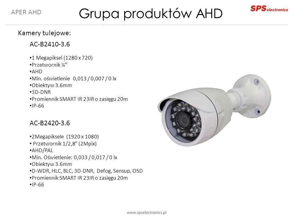 """APER AHD Kamery tulejowe: AC-B2410-3.6 1 Megapiksel (1280 x 720) Przetwornik ¼"""" AHD Min. oświetlenie 0,013 / 0,007 / 0 lx Obiektyw 3.6mm 3D-DNR Promie"""