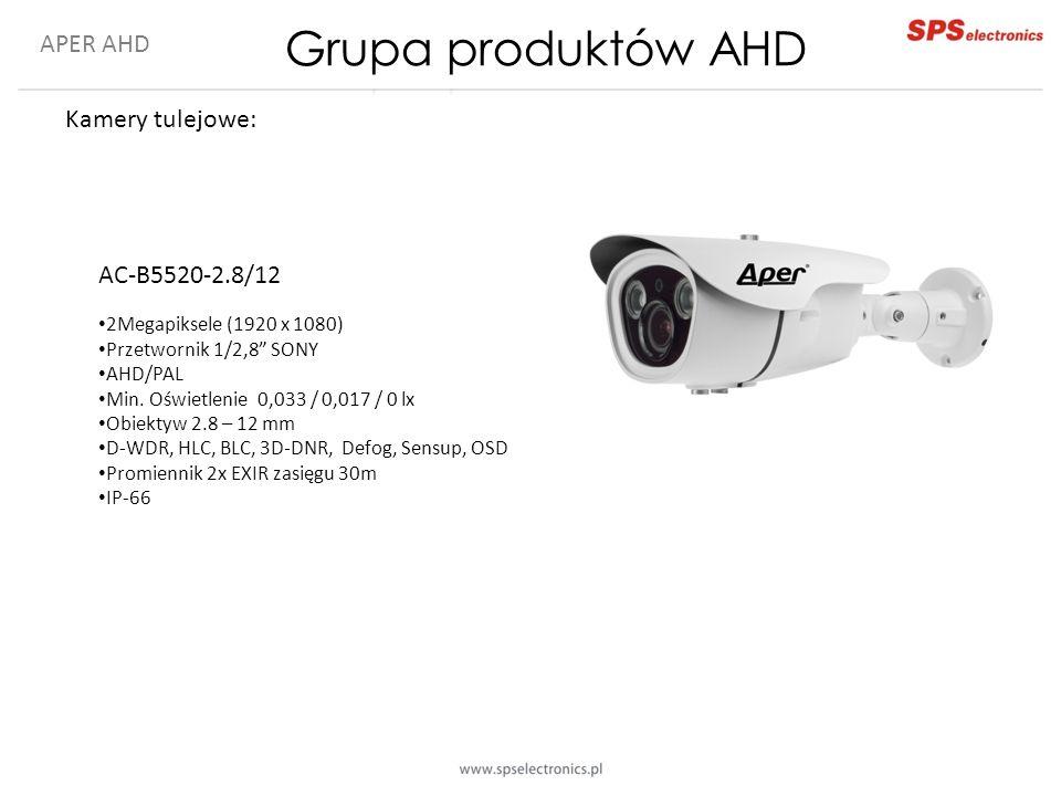 """APER AHD Kamery tulejowe: AC-B5520-2.8/12 2Megapiksele (1920 x 1080) Przetwornik 1/2,8"""" SONY AHD/PAL Min. Oświetlenie 0,033 / 0,017 / 0 lx Obiektyw 2."""