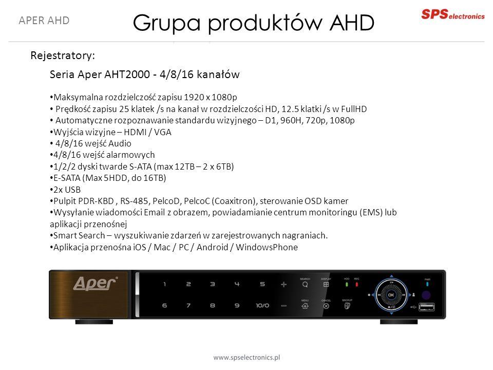 APER AHD Rejestratory: Seria Aper AHT2000 - 4/8/16 kanałów Maksymalna rozdzielczość zapisu 1920 x 1080p Prędkość zapisu 25 klatek /s na kanał w rozdzi