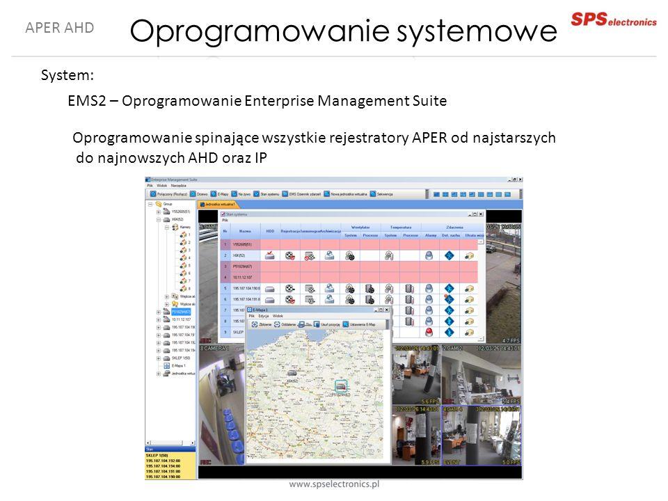 APER AHD System: EMS2 – Oprogramowanie Enterprise Management Suite Oprogramowanie spinające wszystkie rejestratory APER od najstarszych do najnowszych