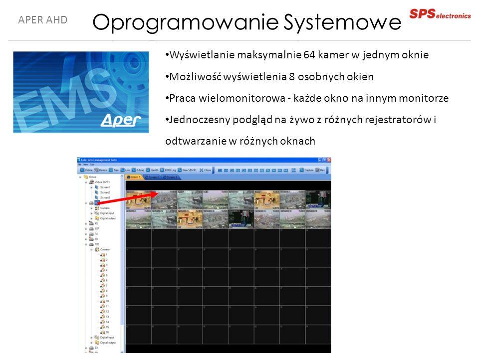 APER AHD Wyświetlanie maksymalnie 64 kamer w jednym oknie Możliwość wyświetlenia 8 osobnych okien Praca wielomonitorowa - każde okno na innym monitorz