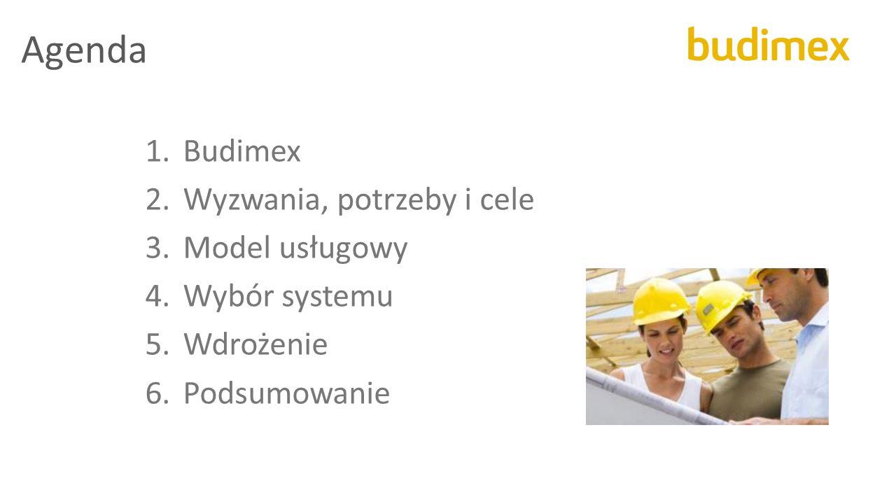 Agenda 1.Budimex 2.Wyzwania, potrzeby i cele 3.Model usługowy 4.Wybór systemu 5.Wdrożenie 6.Podsumowanie