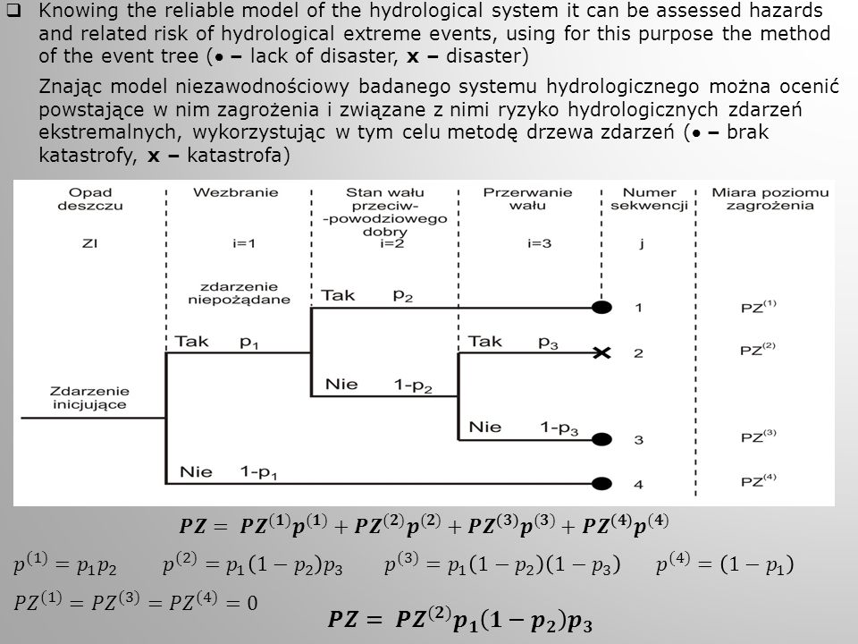  Knowing the reliable model of the hydrological system it can be assessed hazards and related risk of hydrological extreme events, using for this pur