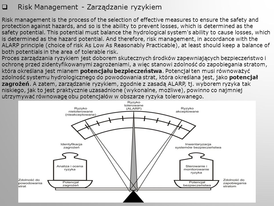  Risk Management - Zarządzanie ryzykiem Risk management is the process of the selection of effective measures to ensure the safety and protection aga