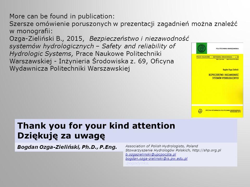 Thank you for your kind attention Dziękuję za uwagę Bogdan Ozga-Zieliński, Ph.D., P.Eng.